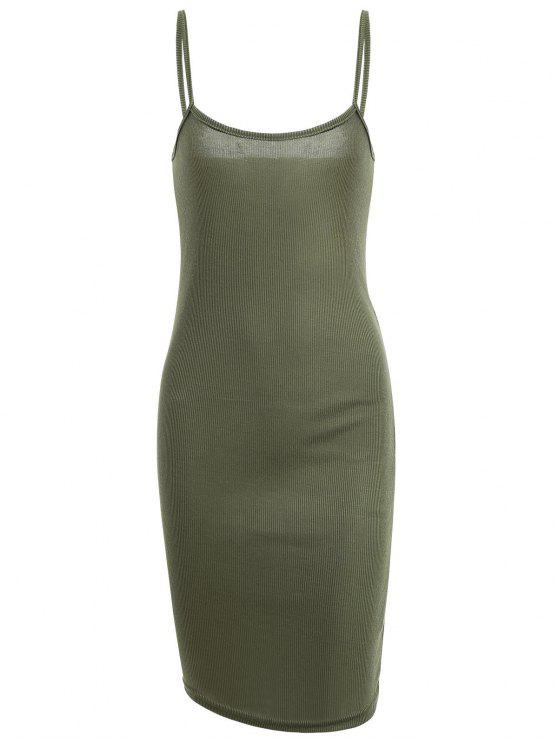 Slit Ribbed Bodycon Slip Dress - Vert Armée M