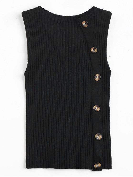 Suéter con costuras laterales abotonadas - Negro Única Talla