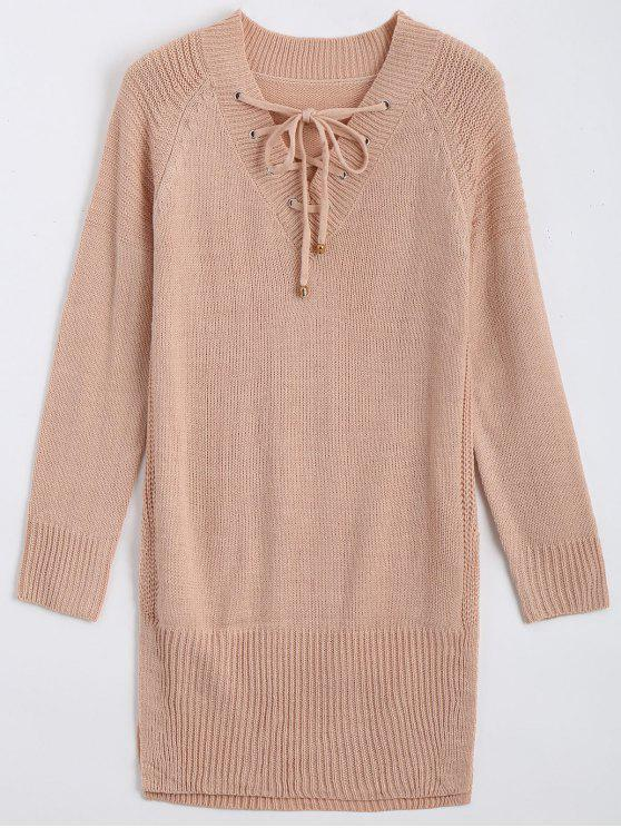 Long V Neck Lace Up Sweater NUDE PINK: Sweaters ONE SIZE | ZAFUL
