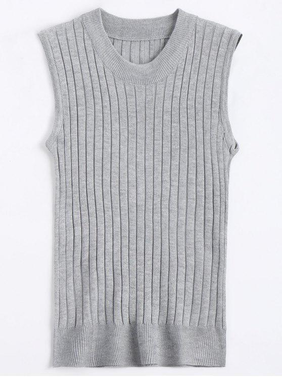 Rundhalsausschnitt Weste Pullover - Grau Eine Größe