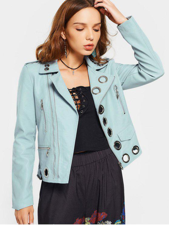 ladies Hollow Out Ring Embellished Faux Leather Jacket - LIGHT BLUE XL
