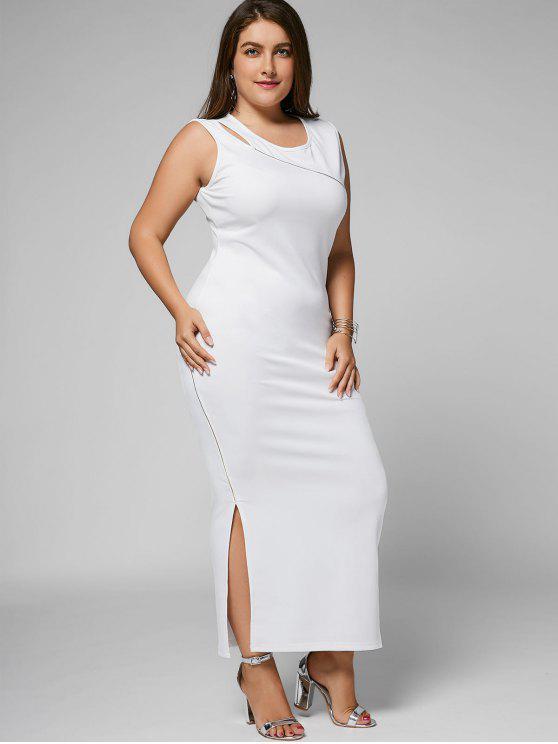 Slit Plus Size Cut Out Bodycon Maxi Dress - Blanc 3XL