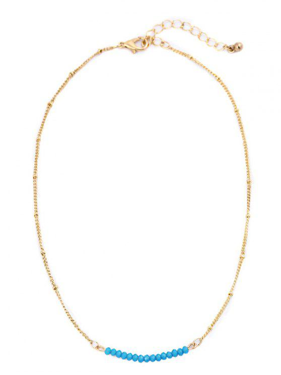 fancy Beaded Chain Collarbone Necklace - BLUE