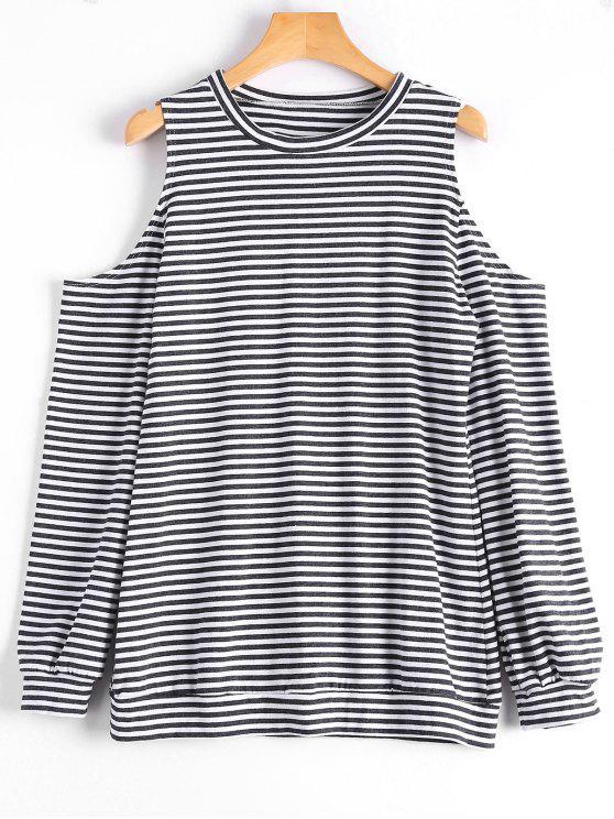 Camiseta rayada de manga larga de hombro frío - Raya XL