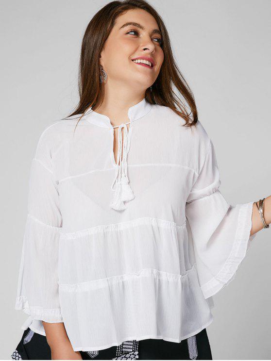 Ruffle Sheer Plus Size Top - Blanc 5XL