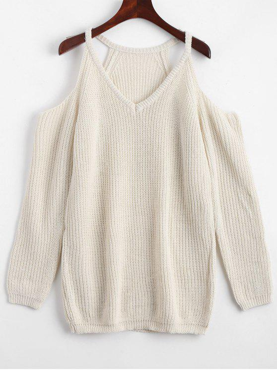lady Cold Shoulder Plain Longline Sweater - OFF-WHITE ONE SIZE