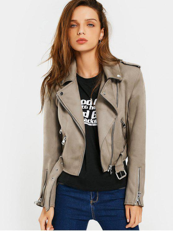 women Asymmetric Zipper Belted Faux Suede Jacket - CAMEL M