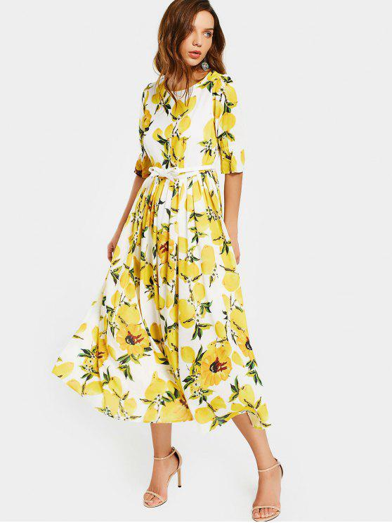 best Lemon Print Belted Dress - WHITE AND YELLOW XL