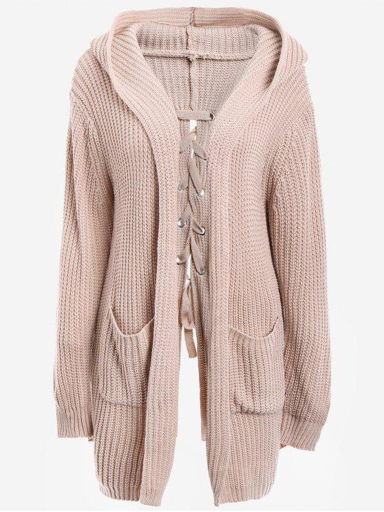 Back Lace Up Hooded Cardigan With Pockets NUDE PINK: Sweaters ONE ...
