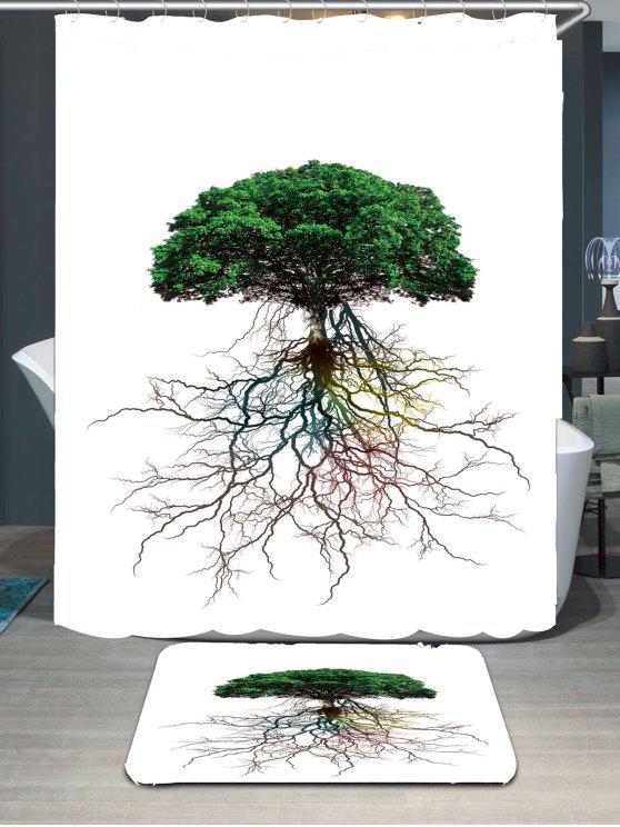 شجرة بيا الجذر مطبوعة ماء دش الستار و البساط - أخضر W79 بوصة * L71 بوصة