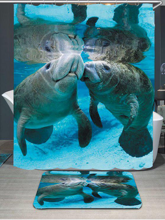 المحيط خروف البحر المطبوعة ماء دش الستار وبساط - أزرق W59 بوصة * L71 بوصة