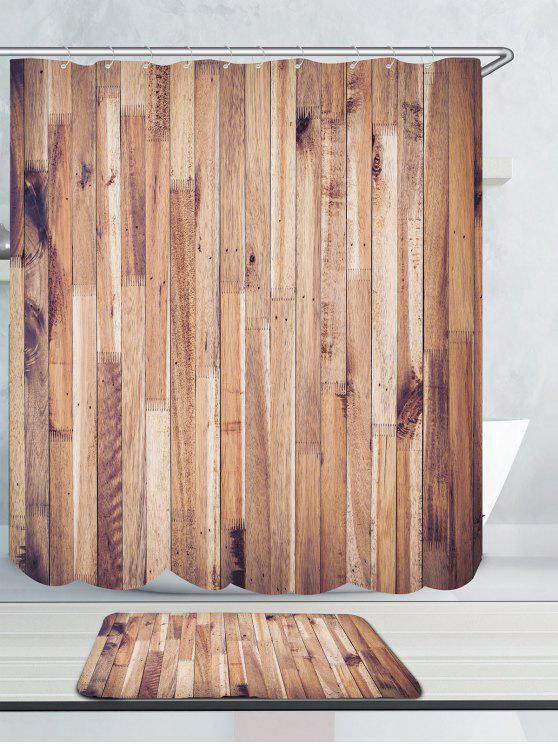Women Wood Grain Waterproof Shower Curtain And Rug