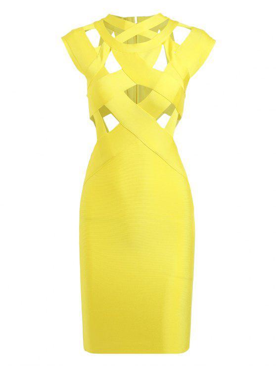 موك الرقبة قطع ضمادة اللباس - الأصفر L