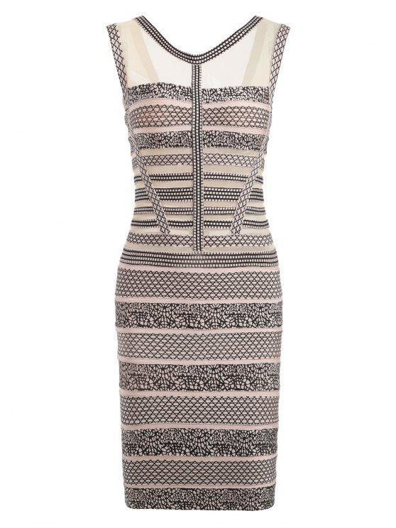 فستان الضمادة طباعة بلا أكمام شبكي - اللون البيج L