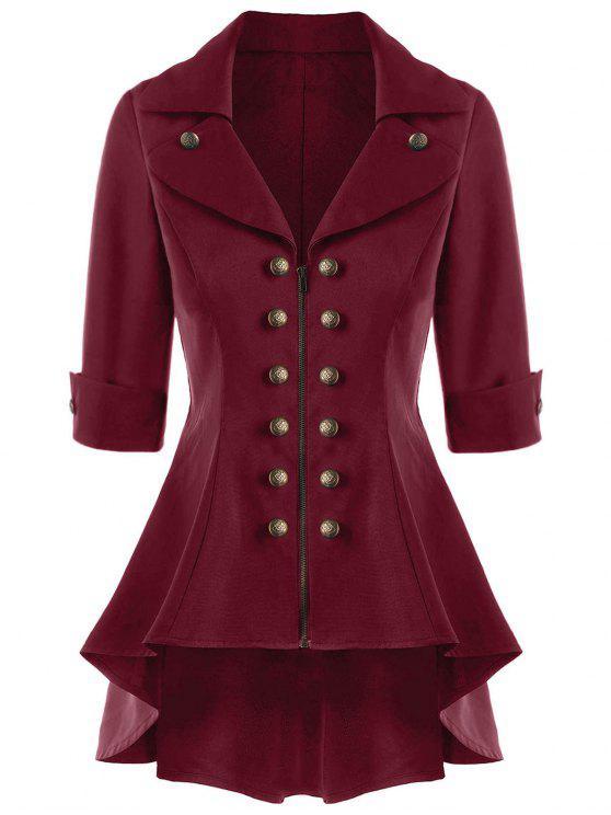 Abrigo trenzado corto de doble botonadura - Vino Rojo XL