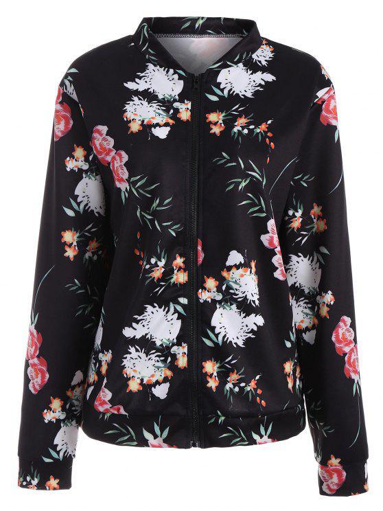 Langarm Jacke mit Blumen und Reißverschluss - Schwarz 2XL