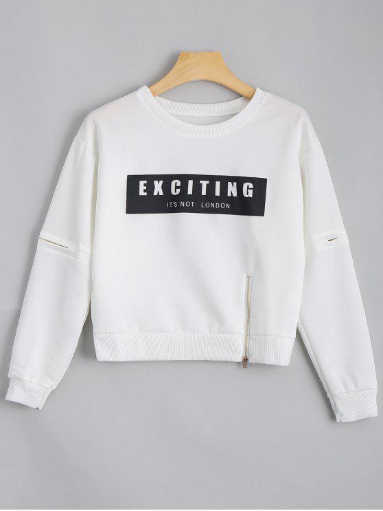 online Crew Neck Zippered Letter Sweatshirt - WHITE ONE SIZE