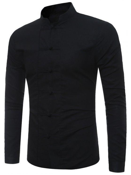 2019 auténtico materiales superiores diseñador de moda Camisa del cuello del mandarín del botón de la rana