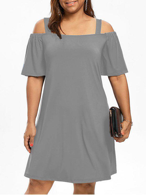 Más tamaño hombro frío hombro vestido de manga - Gris 4XL