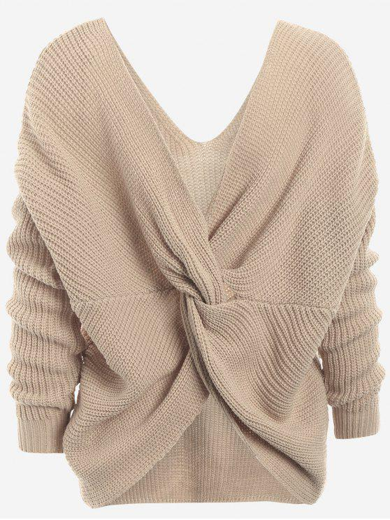 hot Plunging Neck Twist Back Sweater - KHAKI ONE SIZE