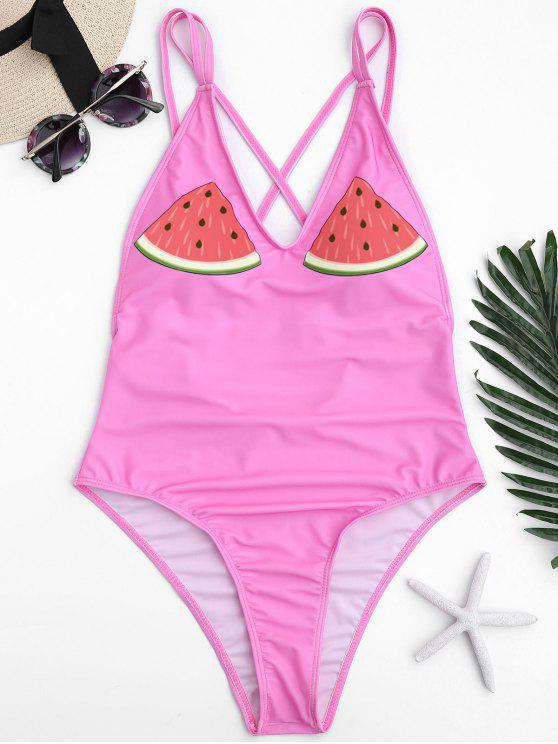 womens One Piece Watermelon High Cut Swimwear - PINK S