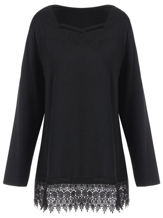 Langärmliges Lace Trim Plus Size T-Shirt - Schwarz 5XL