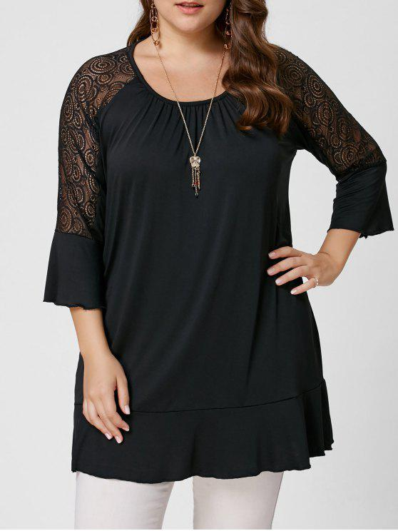 Pizzo Lace Trim Plus Size Tunic Tee - Nero 5XL