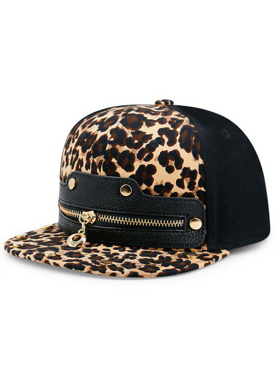 buy Leopard Zipper Faux Leather Spliced Baseball Hat - LEOPARD PRINT PATTERN
