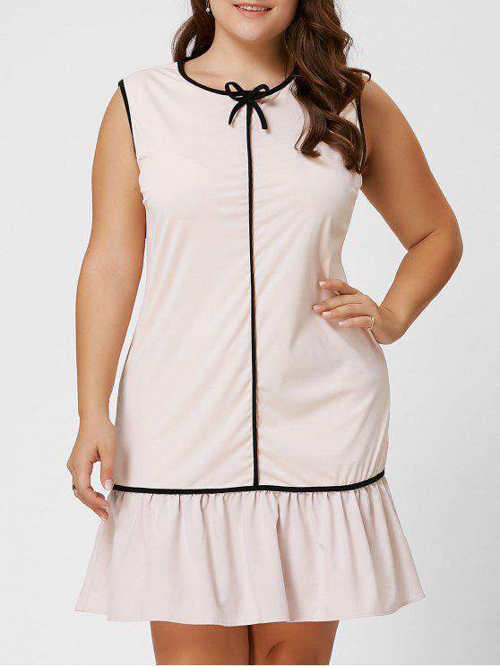 Plus Size Bowknot Ruffle Drop Waist Dress Light Apricot Plus Size