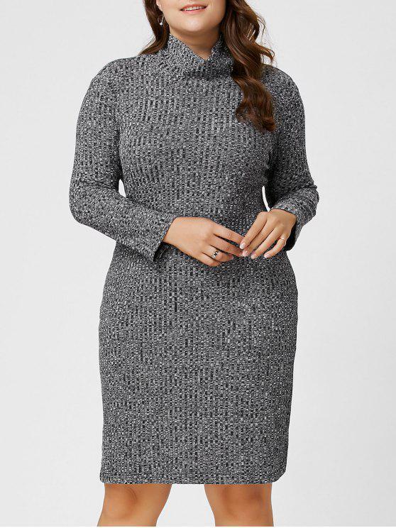 فستان سويت عالية الرقبة - اللون الرمادي 6XL