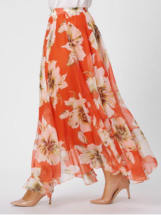 Plus Size Chiffon Floral Maxi Skirt Burnt Orange Plus Size Bottoms