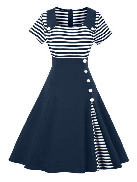فستان كلاسيكي زر مخطط - الأرجواني الأزرق XL