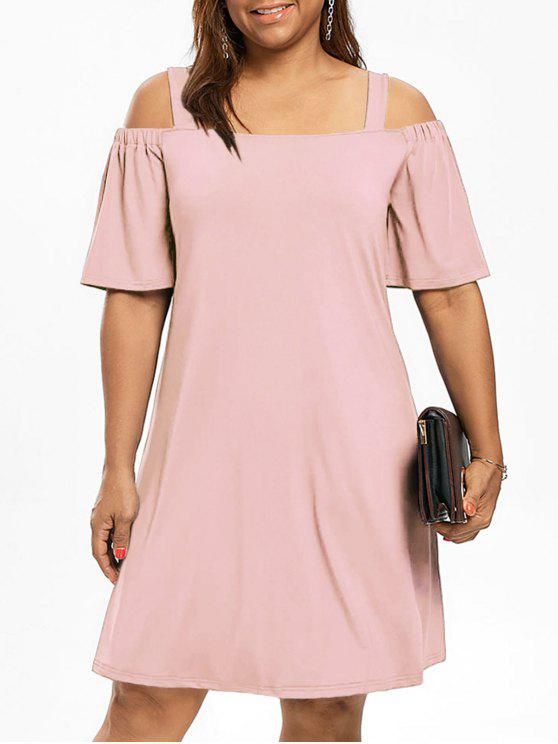 Robe Manches 1/2 Épaules Nues Grande Taille - Rose Léger  4XL
