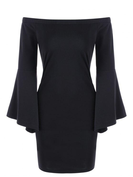 فستان بلا اكتاف توهج الأكمام - أسود XL