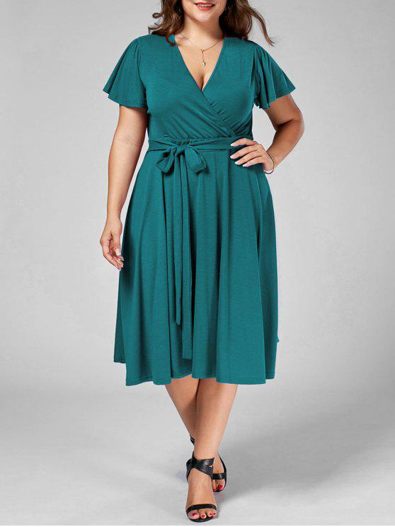 29% OFF] 2019 V Neck Belted Plus Size Midi Dress In TURQUOISE | ZAFUL