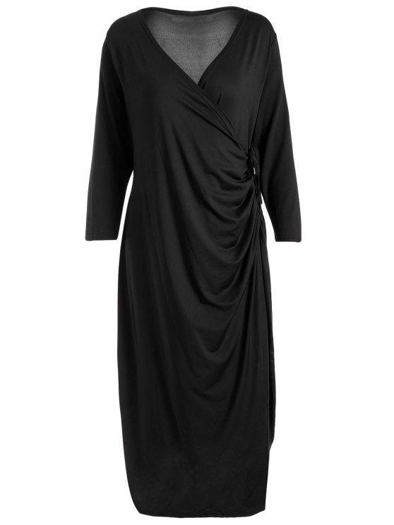 زائد حجم الركبة طول التفاف اللباس - أسود 3XL