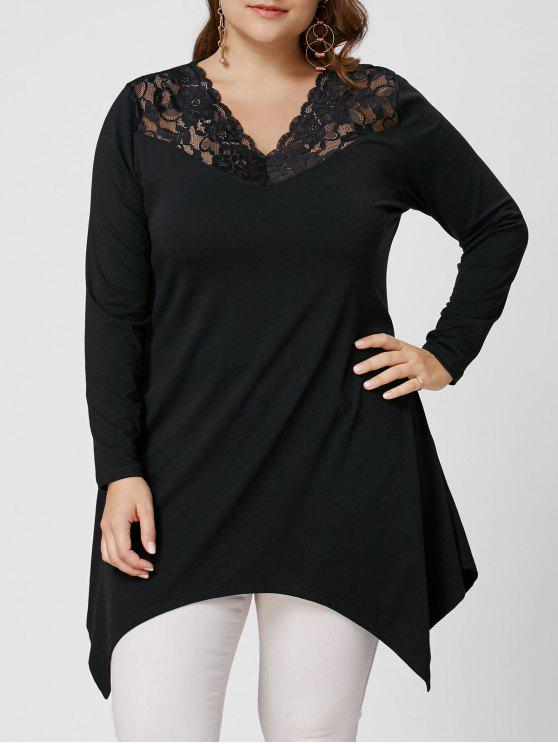 women Lace Trim Long Sleeve Asymmetirc Plus Size Tee - BLACK 4XL