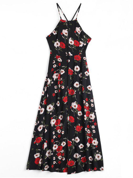 فستان كامي طباعة الأزهار - أسود XL