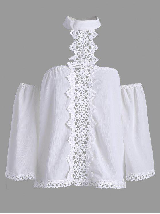 Lose Spitze Panel Halsband Bluse - Weiß L