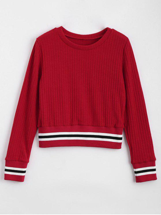 lady Fitting Stripes Panel Sweater - RED M
