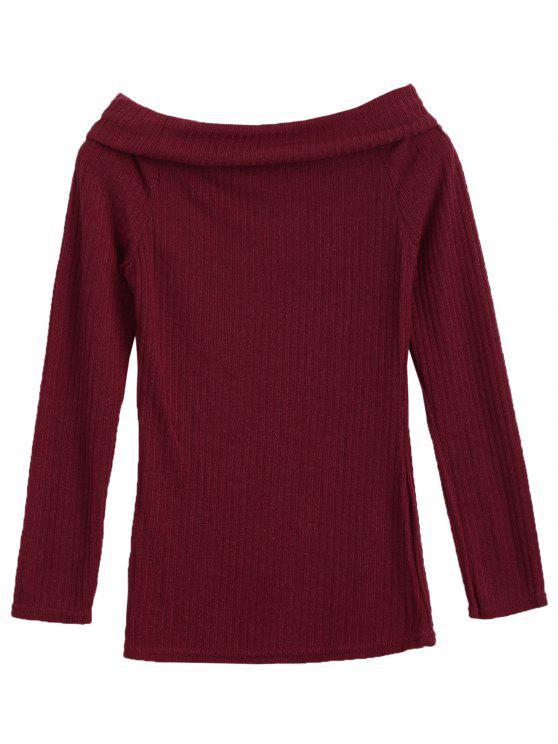 لباس المحبوك بلا اكتاف - نبيذ أحمر M