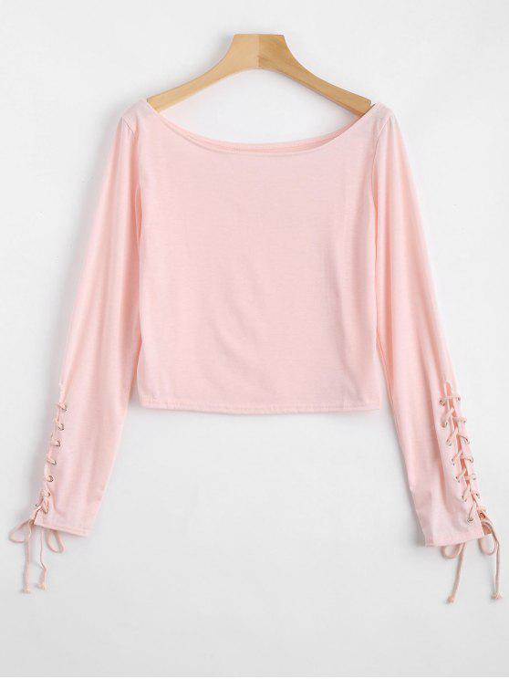 women's Boat Neck Lace Up Crop Tee - PINK M