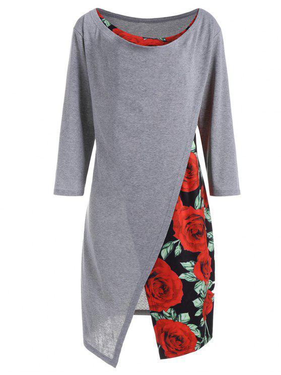 outfit Rose Print Overlap Asymmetrical Plus Size Top - COLORMIX 4XL