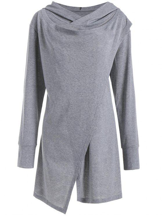 affordable Hooded Overlap Asymmetrical Plus Size Top - GRAY 3XL