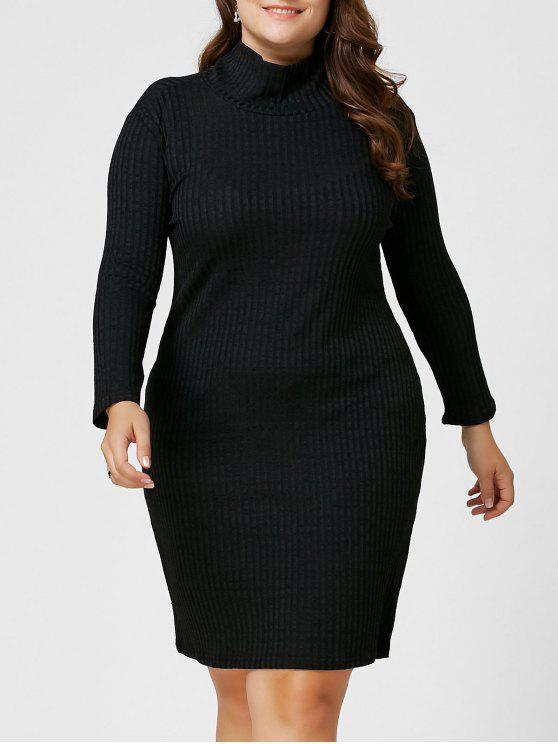 b01320357e 25% OFF  2019 Plus Size Ribbed Sheath Turtleneck Sweater Dress In ...