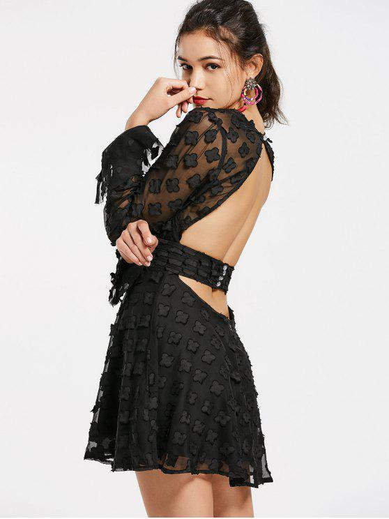Robe boutonnée découpée floral - Noir L