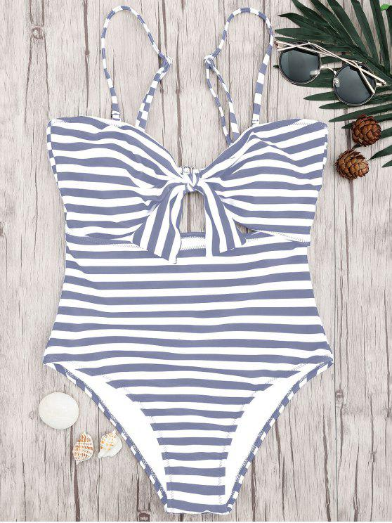 unique Striped Knot Cut Out One Piece Swimsuit - GREY AND WHITE L