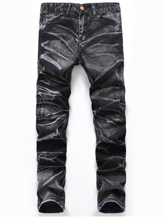 Jeans del piedino diritto del tessuto - Grigio Scuro 42