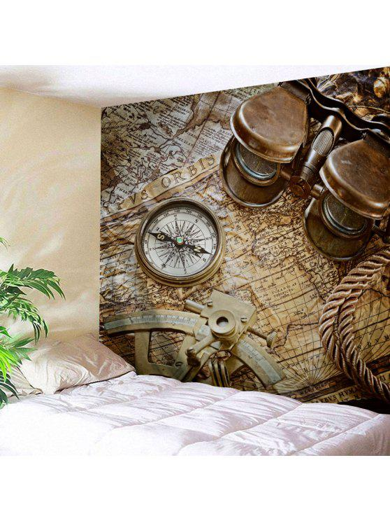 Ladies Wall Hanging Art Decor Retro Compass Map Print Tapestry   BROWN W71  INCH * L91