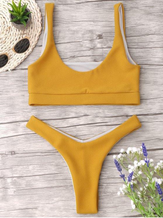affordable High Cut Textured Thong Bikini Set - YELLOW L